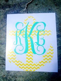 person decal, car initial decals, chevron anchor, car monogram decal, anchor monogram, monogrammed decals, monogram person
