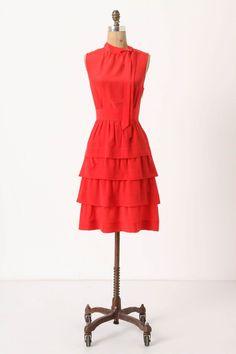 Red ruffled silk dress