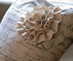Script Print Pillow with Embellished Felt Flower book