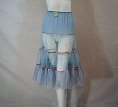 1950s Blue and Pink Petticoat Nylon Rayon