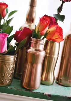 Upcycle old jars into gorgeous bronze, gold and silver vases with spray paint.