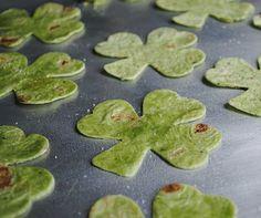 Spinach Tortilla Shamrock Chips