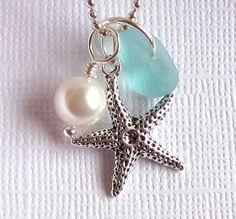 Aqua Seaglass Jewelry Starfish via Etsy