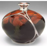 Rookwood pottery vase with silver overlay, executed by L.N. Lincoln in 1902