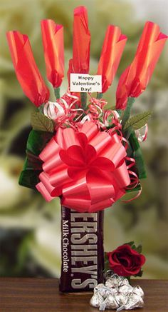 Send this unique Valentine's candy bouquet, made with Hershey bars for your loving ones.