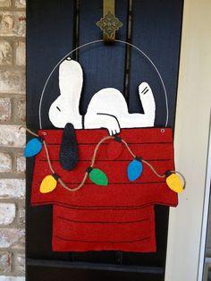Christmas Dog Burlap Door Hanger by ILoveItDesigns on Etsy, $35.00