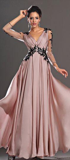 Blush & Black Lace Gown