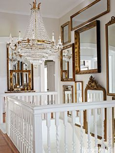 Great European Antiques Shopping List idea!   Such an easy trick to increase daylight in interior rooms that lack windows.