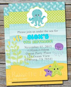 sea creature baby shower | ... invite - animals - ocean theme - birthday or baby shower for boy