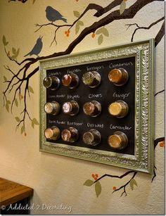 Step-by-step guide to making this fantastic magnetic spice rack for your kitchen.  Find a frame, get some magnets and jars, and use some magnetic chalkboard paint.  Simple, practical, inexpensive, and fun to make!  :)  I like the branch and birds painted on the wall.