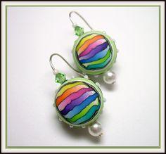 rainbow polym, clays, polymerclay, clay rainbow, pearl earrings, rainbows, swarovski crystals, polym clay, polymer clay