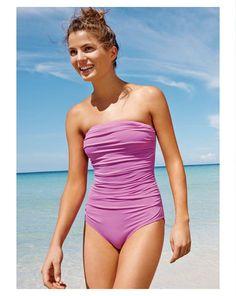 J.Crew ruched bandeau swimsuit tank/pretty color