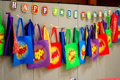 I like how the favor bags are hung up and become part of the decor- this would work for any theme!