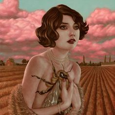 """Weldon Honey"" - Casey Weldon {contemporary figurative artist beautiful discreet semi-nude female holding giant bee to bosom outdoor woman portrait surreal illustration} caseyweldon.com"