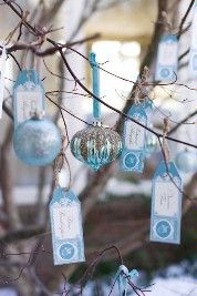 Blue Ornament Wedding Place Card Holders