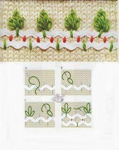 tree, rickrack, bordado, ric rac, embroideri stitch, rick rack, ricrac, embroidery, crazi quilt