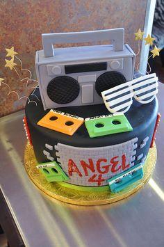 kids party cakes, music cakes, boombox cake, cake cake, kid parties
