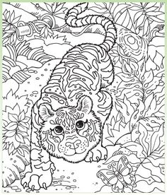 Free Printable~ Hidden Pictures are coloring pages with smaller pictures hidden within such as a shoe, mug, and duck in this image of a tiger.