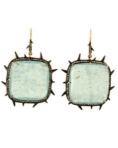 Sylva & Cie 18k rose gold, aqua slice and pave diamond earrings at London Jewelers!