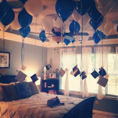 (Love this idea: Can fit for any age) Boyfriend's 35th birthday. 35 balloons, 35 pictures, with 35 reasons I think he is amazing.