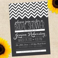 Chalkboard Bridal Shower Invitation DIY by YellowBrickGraphics