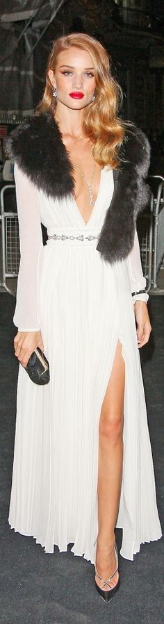 the most glamorous outfit ever: fur with white gown, gorgeous Loubs - Rosie Huntington Whiteley