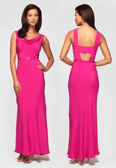 Mother of the Bride Dresses - 136014 Long Fuchsia Cowl Neckline Belt