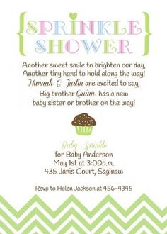 Baby Sprinkle Shower Invitation with Chocolate Cupcake in gender neutral colors of pink, blue and green. Love the chevron pattern and heart!