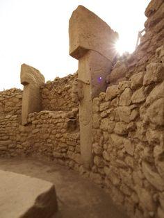 Göbekli Tepe = is an archaeological site at the top of a mountain ridge in the Southeastern Anatolia Region of Turkey, northeast of the town of Şanlıurfa.