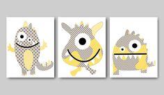 Monsters Childrens Art Kids Wall Art print baby room decor