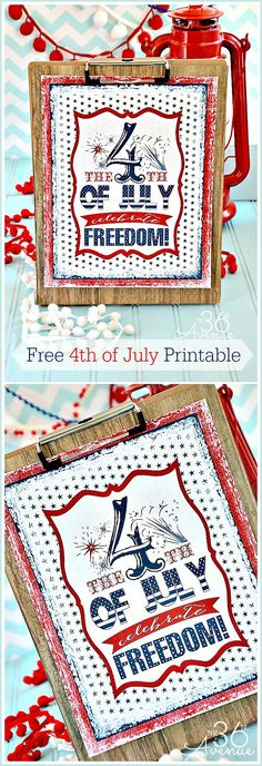Fourth of July Free Printable at the36thavenue.com ...Such a fun and festive way to decorate!