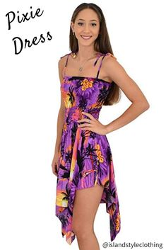 Purple Sunset Pixie Ladies Hawaiian Dress Fancy Dress Costume. Fun summer dress with zig zag hem. Optional Spaghetti Straps. Perfect dress for a beach party, cruise, luau or summer day. Matching mens, ladies and boys shirts available. #ladiesdress #hawawiiandress #luauparty #fancydresscostume #hensparty #springbreak #luaudress #bluesunset #bluedress #tropicaldress #summerdress #tropicalprint #zigzaghem #sexydress #bacheloretteparty #costume #luau #casual #beachdress #hawaiianholiday #vacay