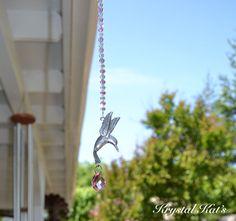 Pewter Humming Bird & Crystal Suncatcher - Hummingbird Pewter & Crystal Beaded Suncatcher - Hummingbird Crystal Suncatchers - Crystal Suncatchers - by Krystal Kat's glass beads: http://www.ecrafty.com/c-2-glass-beads.aspx