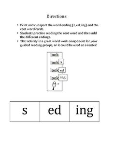 I could recreate this...Word Endings and Verb Tenses: -s, -ed, -ing