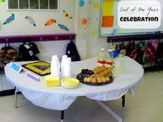 End of School Year Celebration - During the last week of school I had one day where the parents were invited to join us for a special little get-together. Here is the welcome/food table.