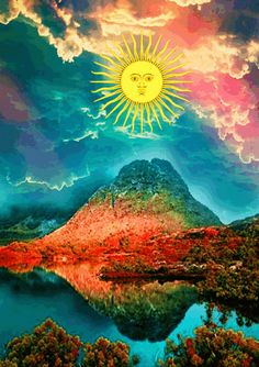 psychedel art, hippi trippi, trippy hippy, mountain, life, print art, mind, strang trip, thing