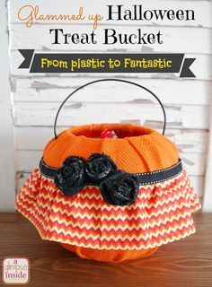 Glammed-up Halloween Treat Bucket- From Plastic to Fantastic #crafts