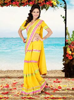USD 80.94 Yellow Faux Georgette Lace Work Party Wear Saree    36639