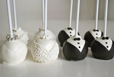 Elegant Bride and Groom Cake Pops
