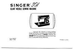 Singer 301 Sewing Machine Manual