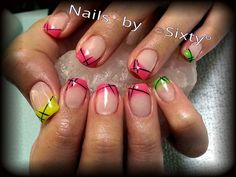 Summer nail art. Gel nail art. Neon French. Pink, yellow and green with black abstract lines.