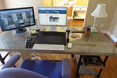Close Up of Reclaimed Pipe Desk #deskweek #KeeKlamp
