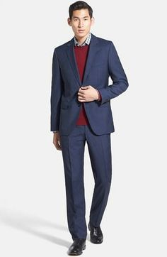 Sharp look! Blue trim fit suit