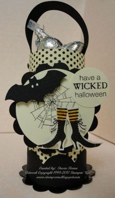 Halloween paper tube candy holder
