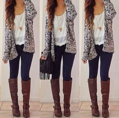 the cardigan brings the outfit together and i love the high brown boots with the dark jeans.