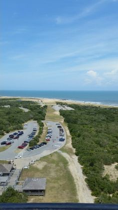 View from top of Hatteras Light house showing path from its original location.
