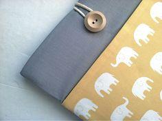 Elephant MacBook Air Case 11 inch Chromebook Laptop Case Custom Laptop Sleeve Cotton Canvas via Etsy