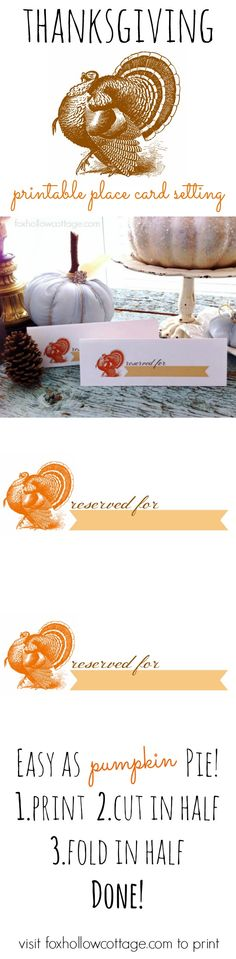 Free Thanksgiving Place Card Setting | #printable #thanksgiving | 2nd in a series at www.foxhollowcottage.com