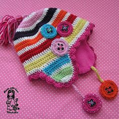 Mad about the buttons  crochet earflap   pdf pattern by VendulkaM, $5.30