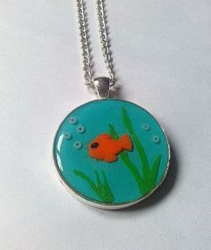 Polymer clay and resin goldfish necklace by KaisCards on Etsy, £8.50